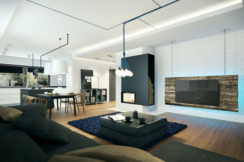 时尚现代设计风格别墅室内装修案例图