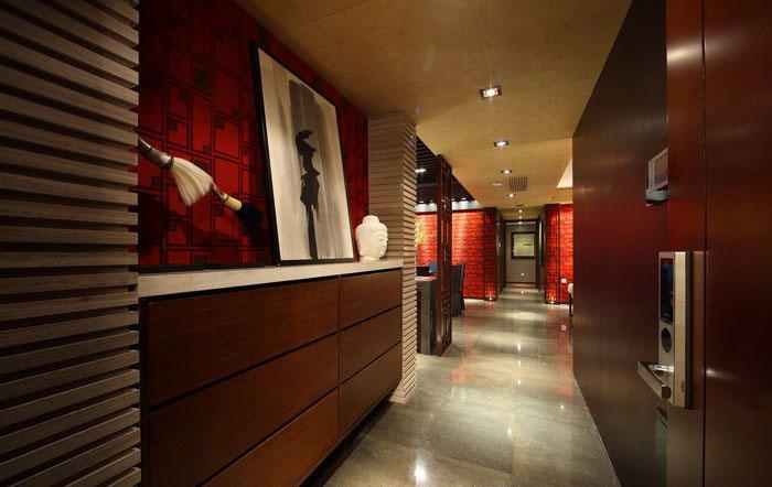 180平摩登新中式公寓入户玄关设计装修图