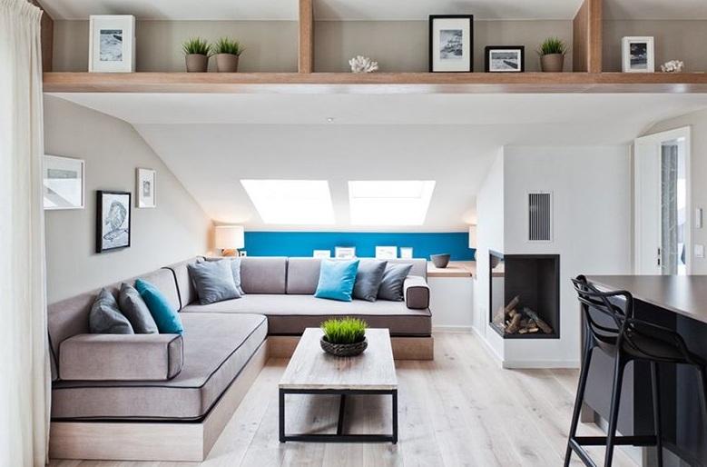 简约宜家设计带阁楼小户型客厅装修案例图