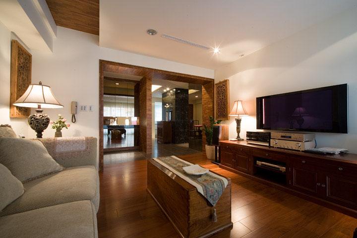 简约中式装修客厅实木电视柜设计
