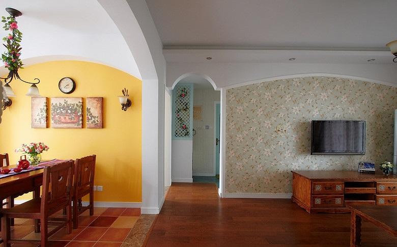 精美田园风格三室两厅家装设计装修图