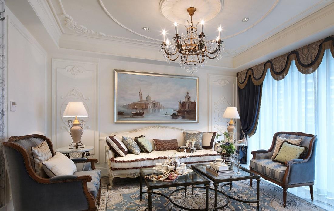 奢华洛可可欧式风格家装沙发背景墙装修图