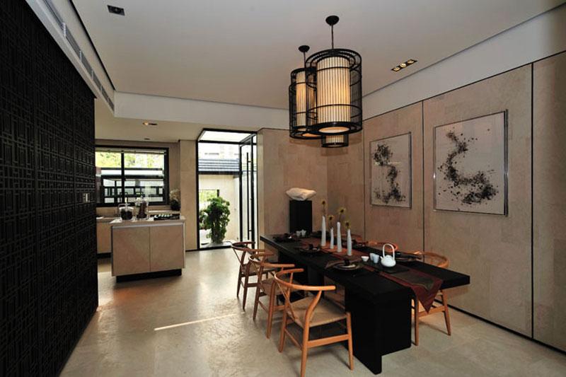 儒雅新古典餐厅背景墙效果图