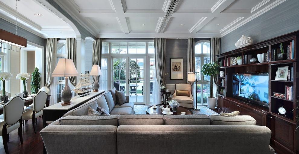 灰色时尚奢华欧式客厅效果图