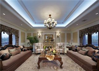 110平棕色系低奢复古美式三居室效果图欣赏