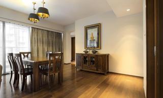 简约中式风格餐厅实木方桌放置效果图