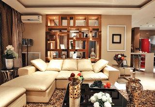 新中式风格三居客厅镂空博古架隔断效果图