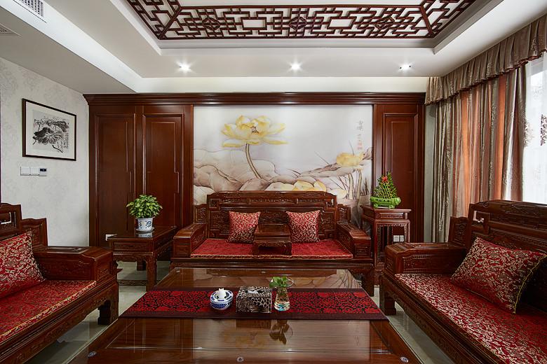中式新古典三居客厅实木沙发背景墙装潢效果图