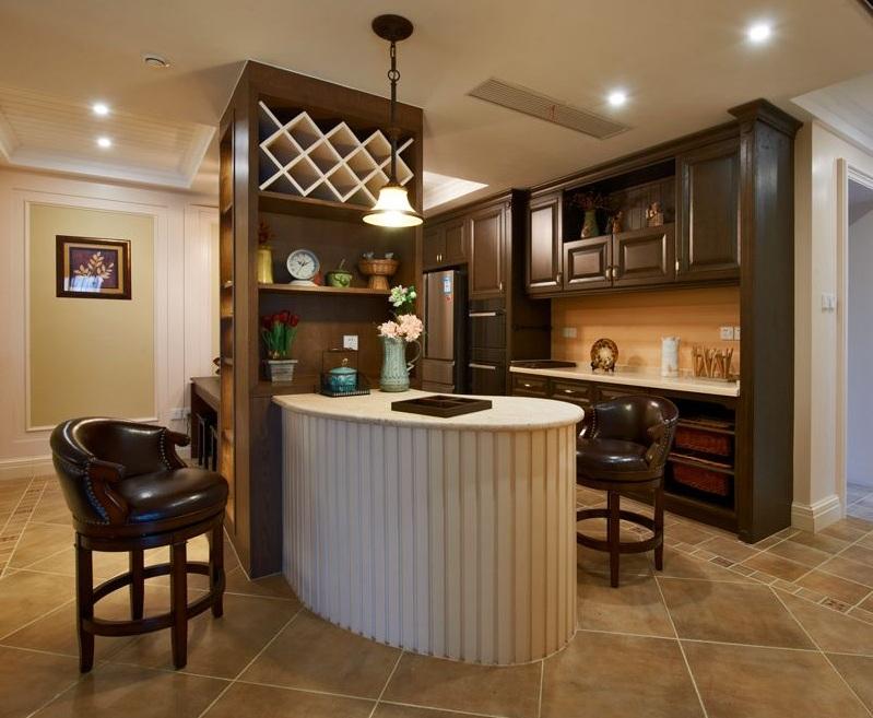 温馨典雅美式风格公寓家居吧台设计图