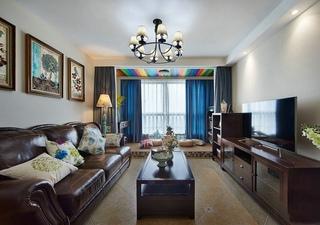 98平休闲美式复古混搭三居室装修效果图欣赏