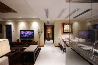 118平时尚现代简中式混搭三居家装效果图