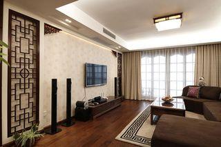 时尚现代简约中式混搭设计三居室效果图