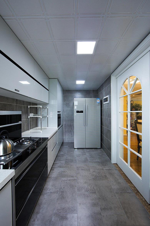美式现代长方形厨房设计装修欣赏图片