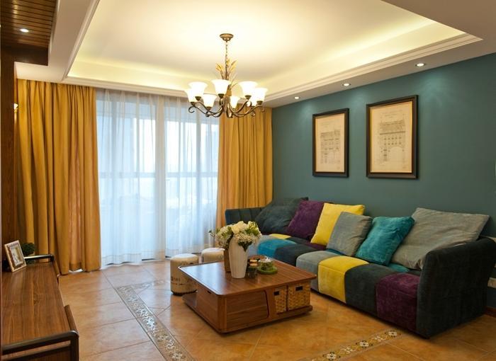 多彩复古美式家装客厅设计效果图