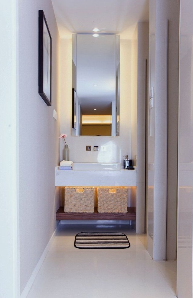 现代舒适美式卫生间洗手区效果图