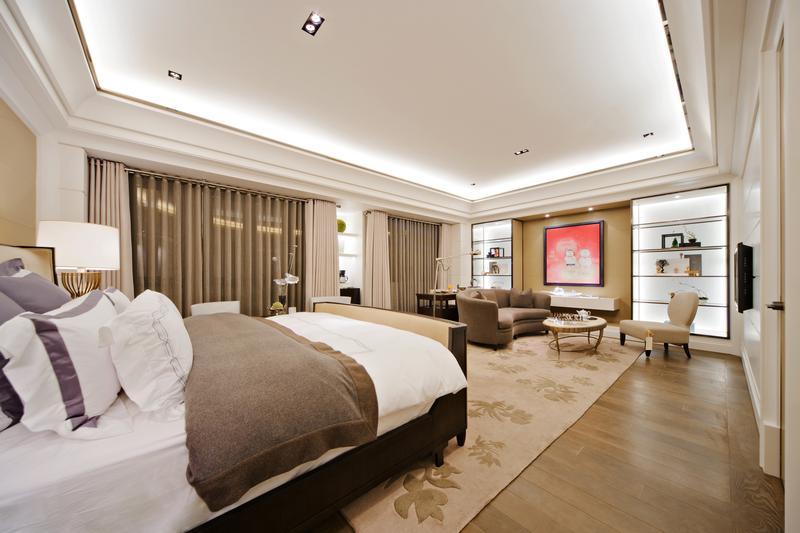优雅时尚现代风卧室吊顶隔断效果图片