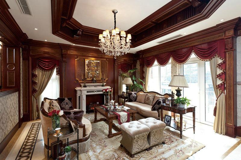 欧式古典风格别墅客厅设计装潢案例图