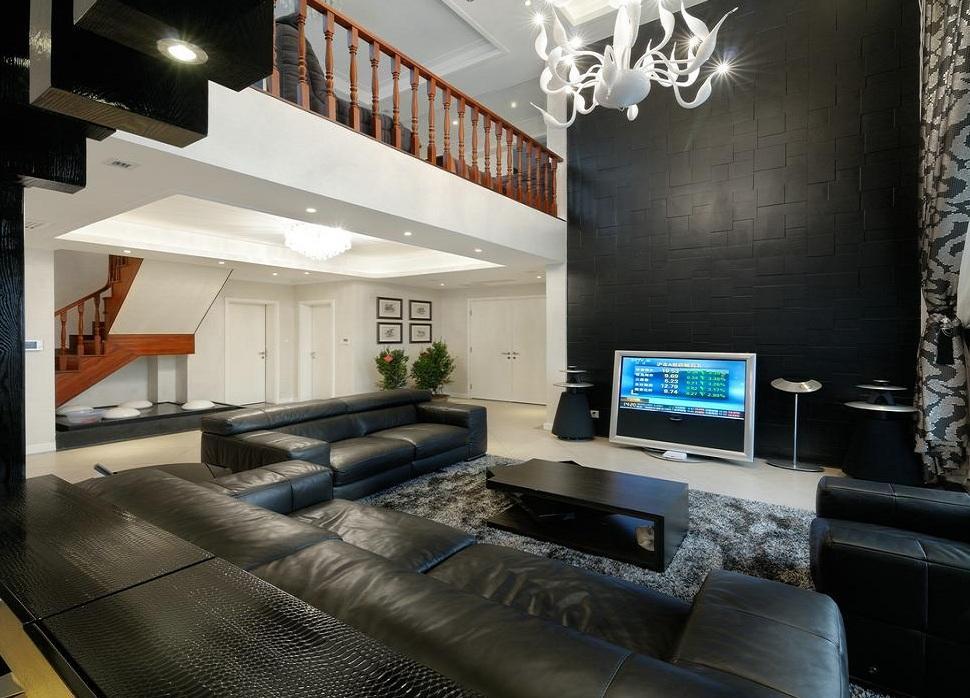 暗淡时尚华丽后现代设计风格复式客厅隔断效果图