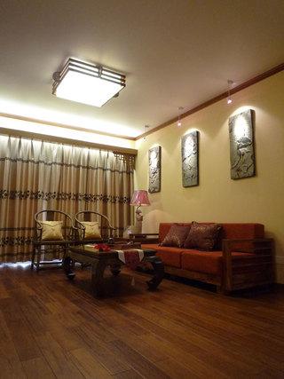 90平米简中式风格两居室客厅装潢效果图