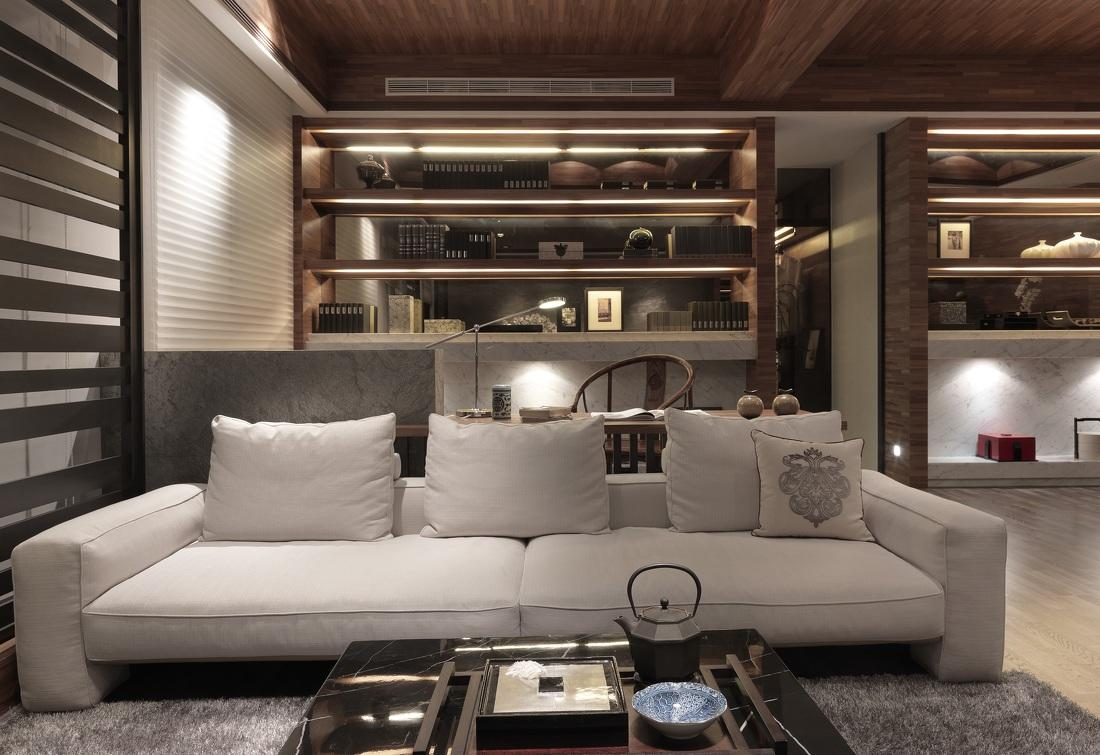 简约大方现代中式混搭客厅效果图