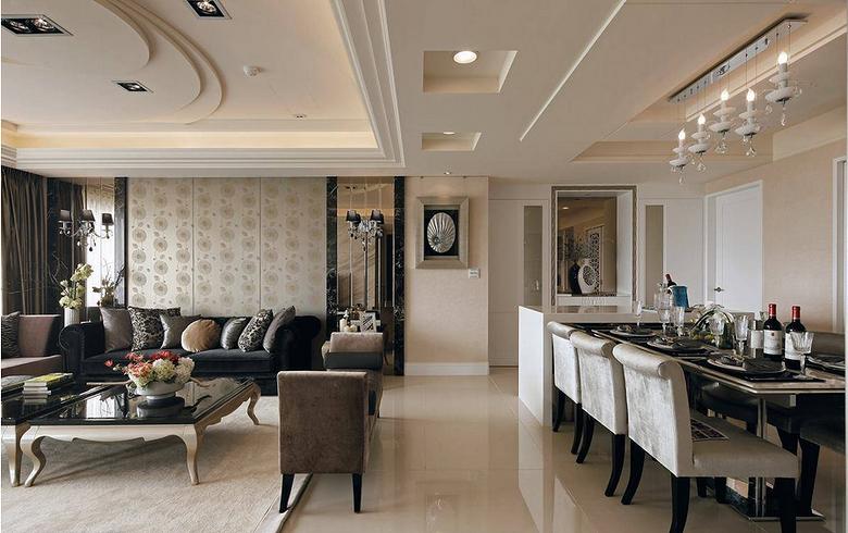 时尚优雅现代欧式三居室家装吊顶隔断效果图