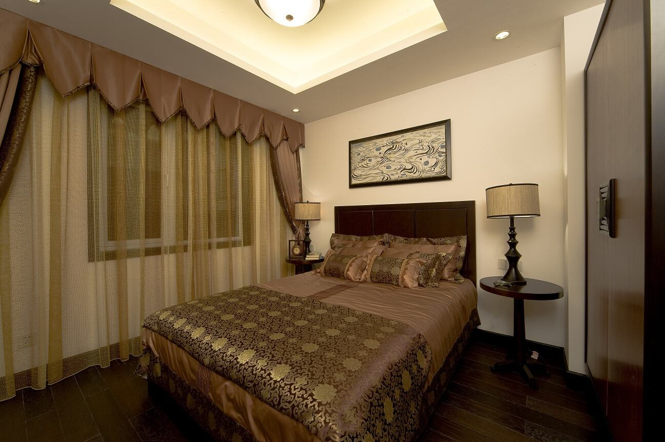 古典简约中式卧室窗帘效果图