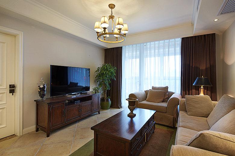 悠闲美式风格客厅装潢效果图