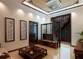 时尚现代中式混搭三居室家装效果图
