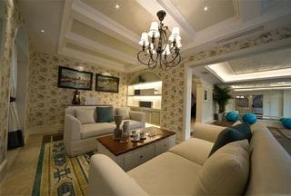 清新地中海风格别墅室内家居设计装潢效果图