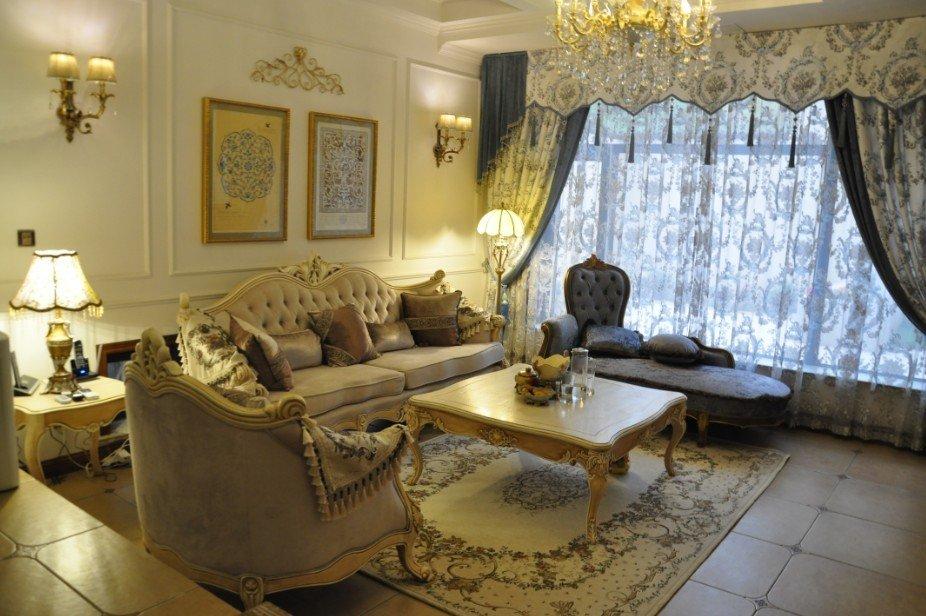 欧式唯美客厅窗帘效果图