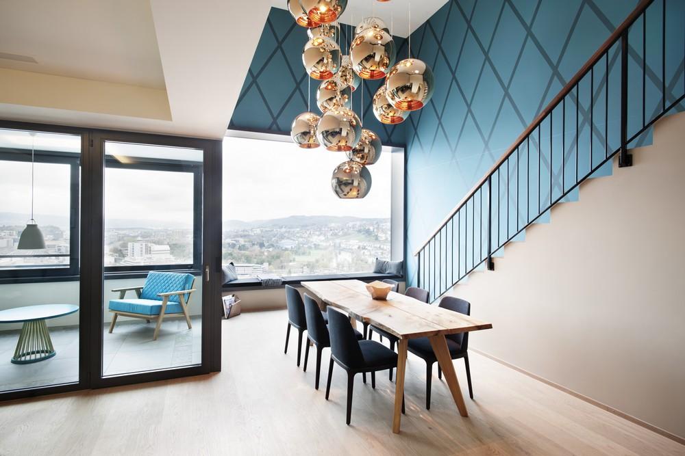 时尚简易现代风格复式家装玻璃门隔断效果图