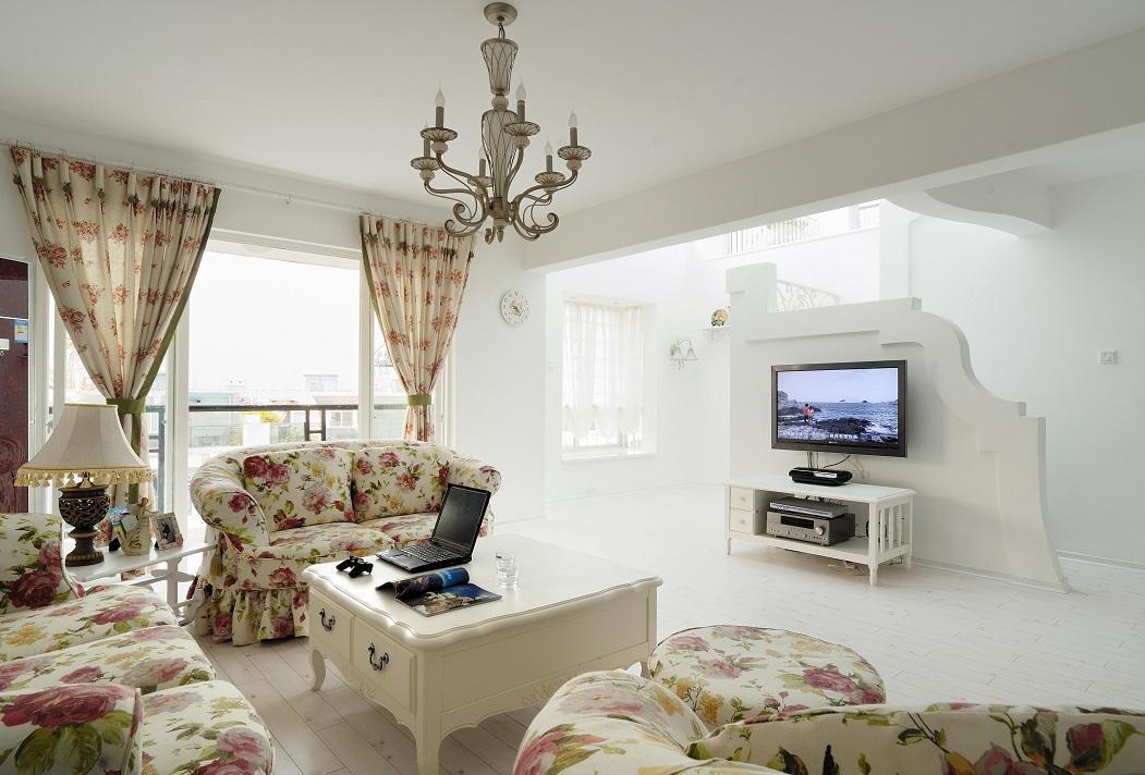 大气简约复式家装休闲区碎花软装饰效果图片