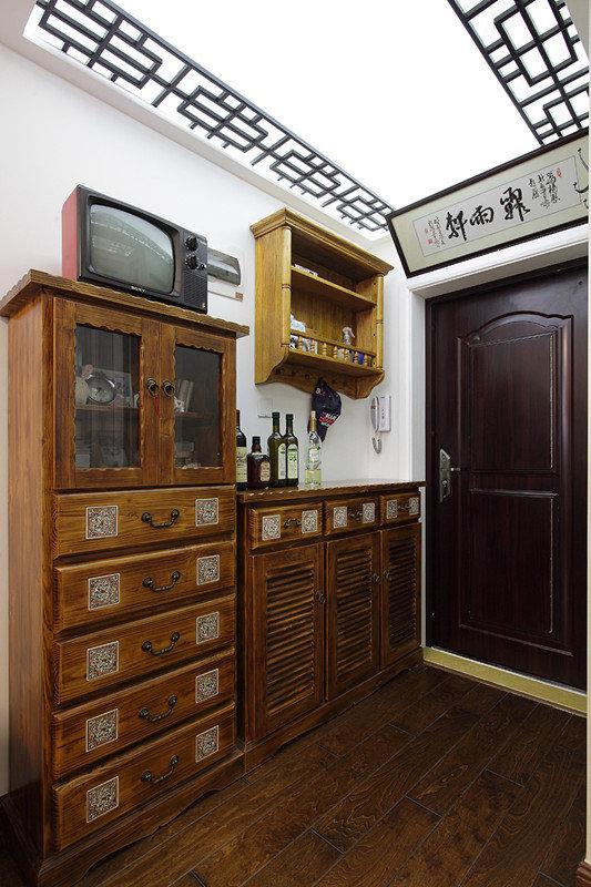 复古中式玄关鞋柜效果图