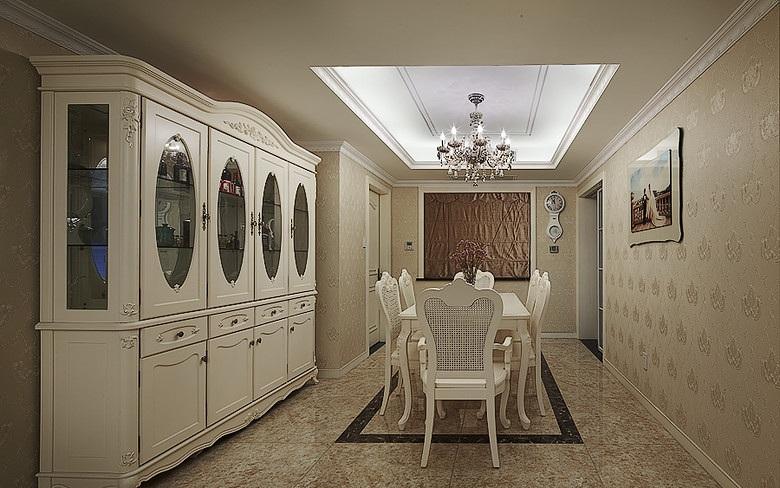 白色时尚欧式风格餐厅设计装修效果图