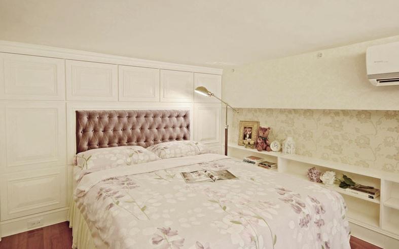 白色简欧复式楼卧室效果图