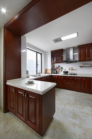 简约实木中式厨房橱柜效果图