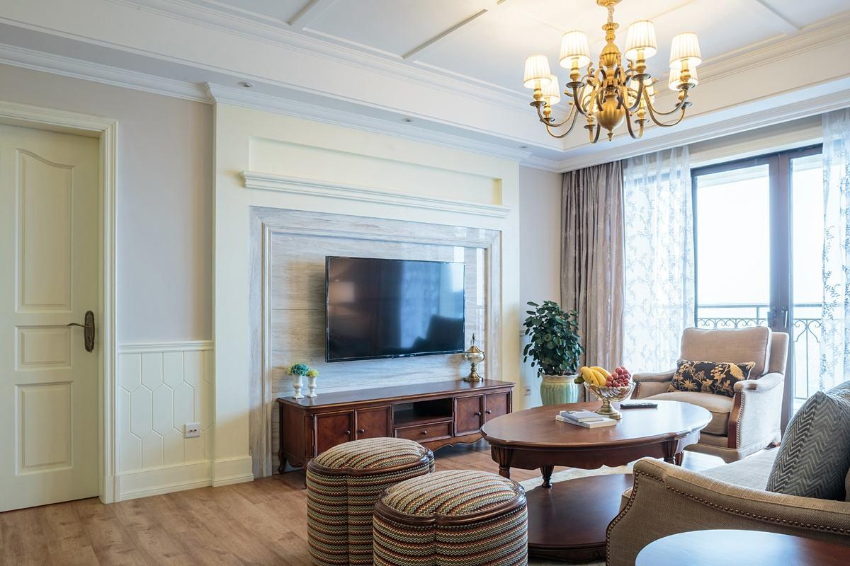 低奢白色欧式客厅电视背景墙效果图