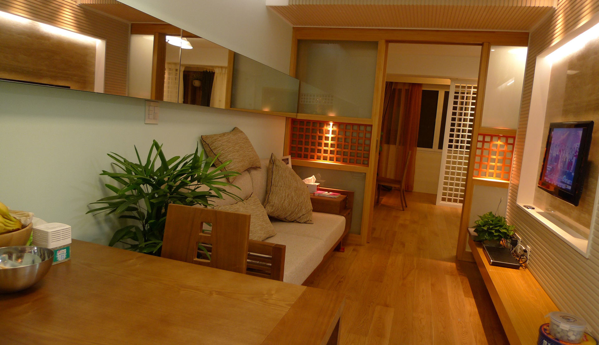 简约日式风客厅背景墙效果图