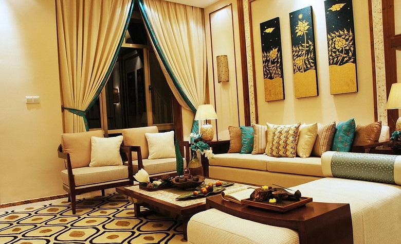 豪华唯美新古典挑高客厅效果图