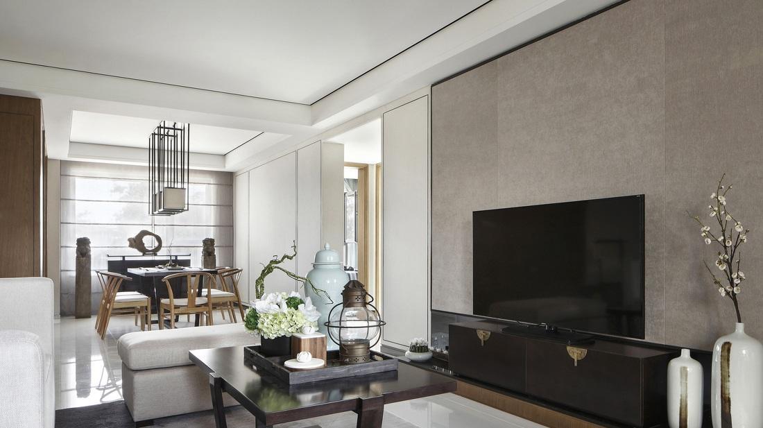 简约现代风格灰色电视背景墙效果图