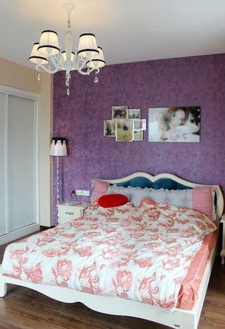 温馨现代设计卧室紫色背景墙效果图