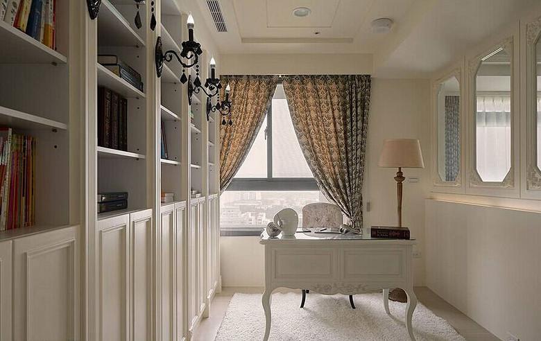 白色唯美简欧风格书房设计装修效果图