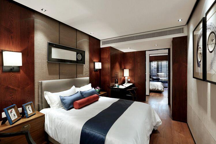 时尚简约新中式风格卧室背景墙装修效果图