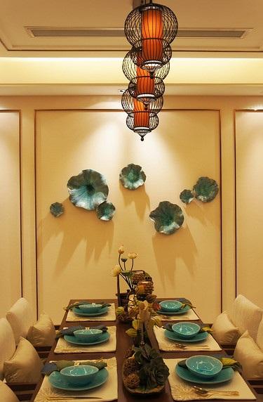 唯美古典中式餐厅背景墙效果图