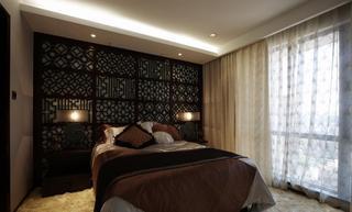 典雅中式卧室镂空背景墙隔断效果图
