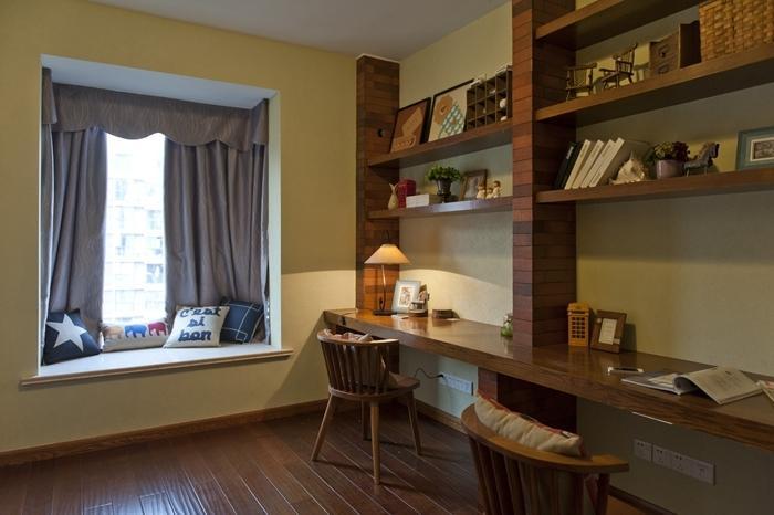 美式乡村风家装书房隔断设计效果图片