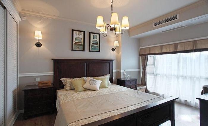 温馨复古美式风格卧室照片墙装修效果图