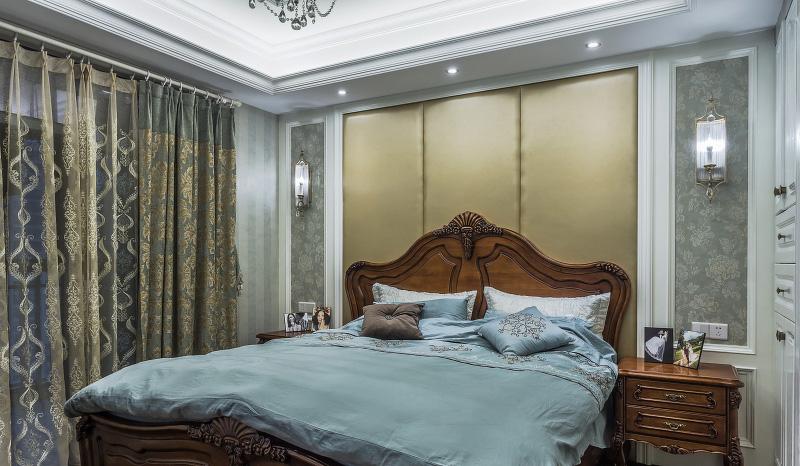 现代新古典欧式混搭卧室布置效果图