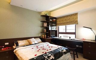 中式新古典风格卧室书桌隔断效果图