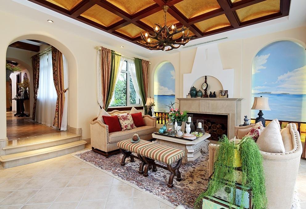复古美式地中海跃层室内装修图片
